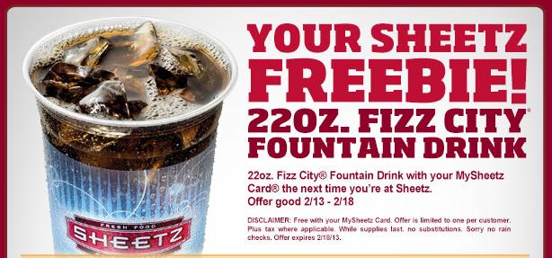 FREE Sheetz Fountain Drink with your MySheetz Card