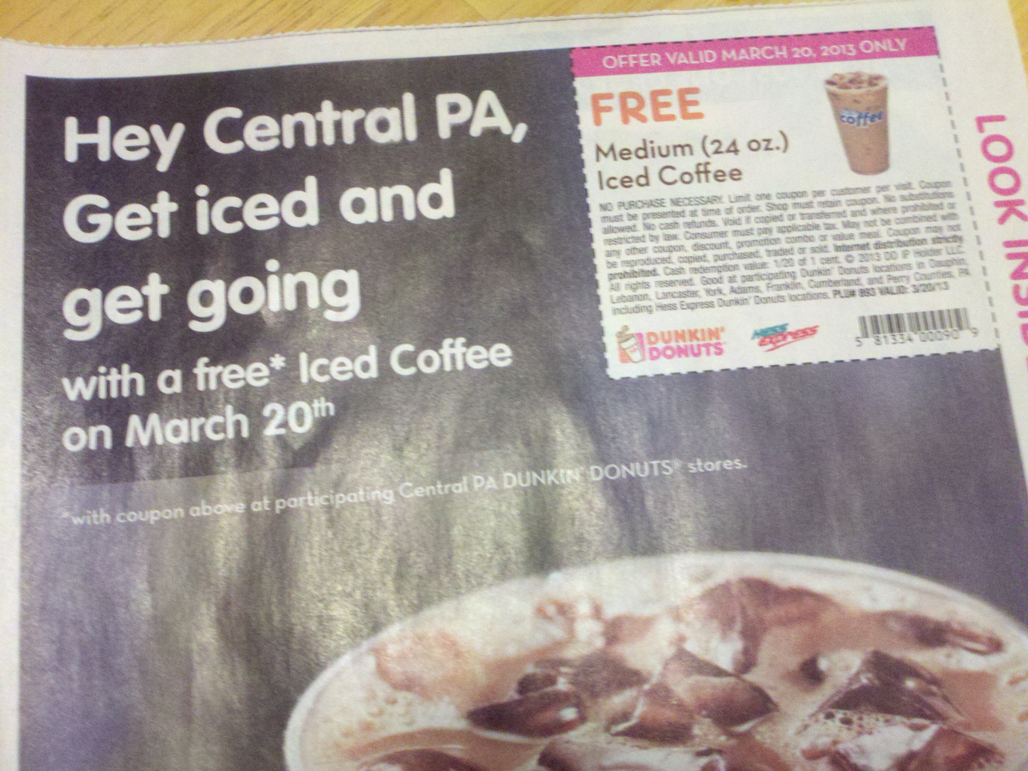FREE Medium Iced Coffee on March 20, 2013
