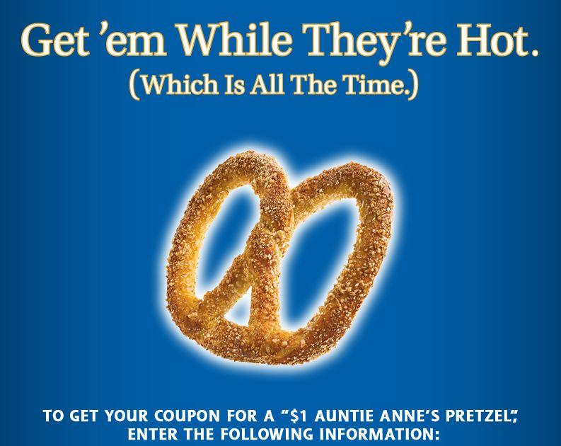 Auntie Anne's Pretzel Only $1