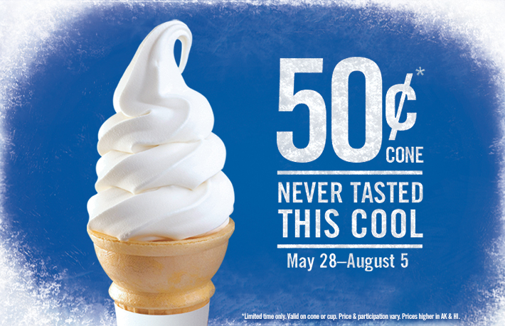 $0.50 Soft Serve Ice Cream Cone at Burger King