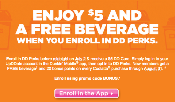 Enjoy $5 and a FREE Beverage When You Enroll in DDPerks