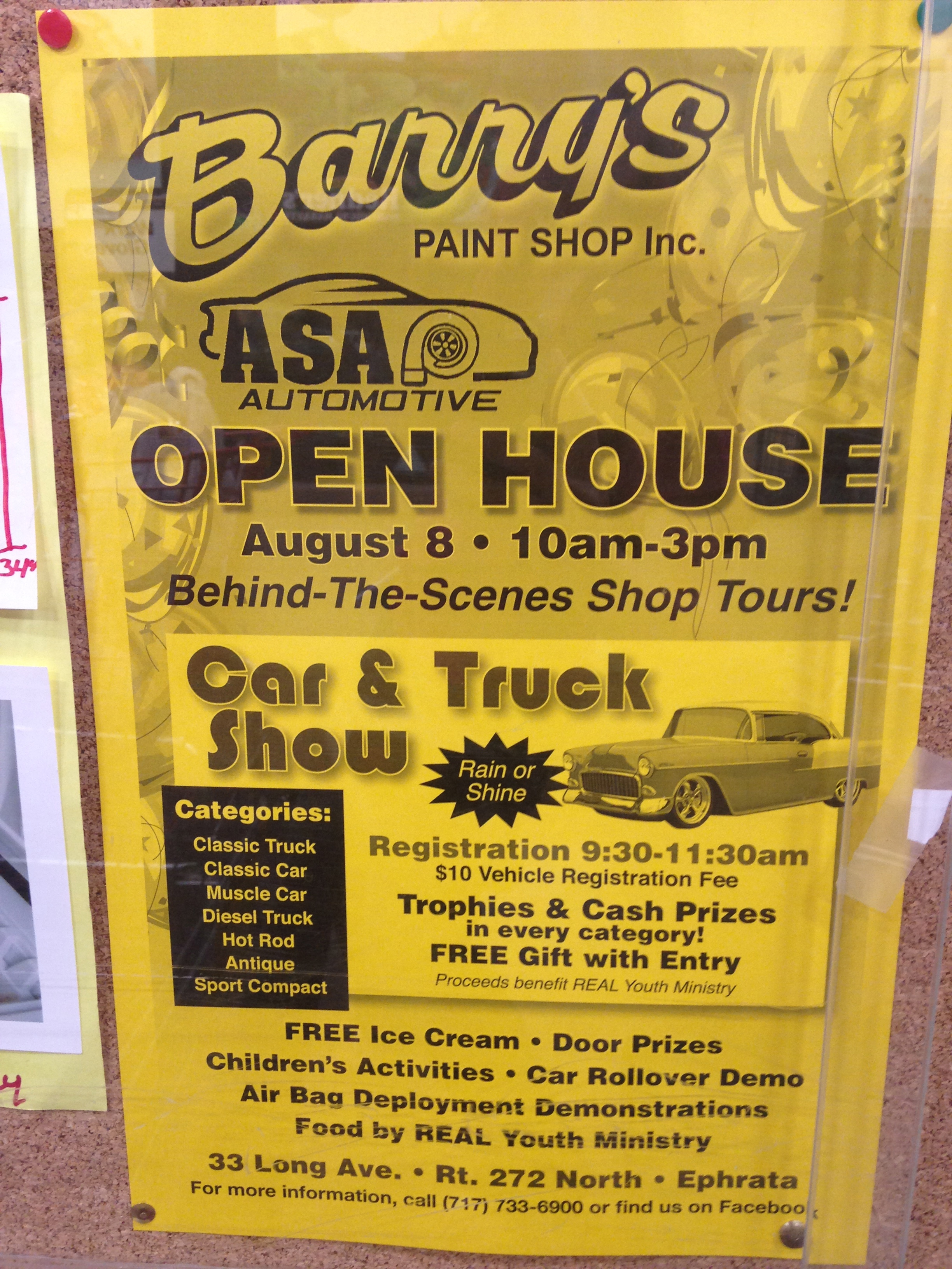Barry's Open House in Ephrata on August 8, 2015