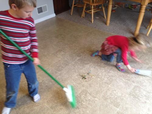 Kids Sweeping Kitchen Floor