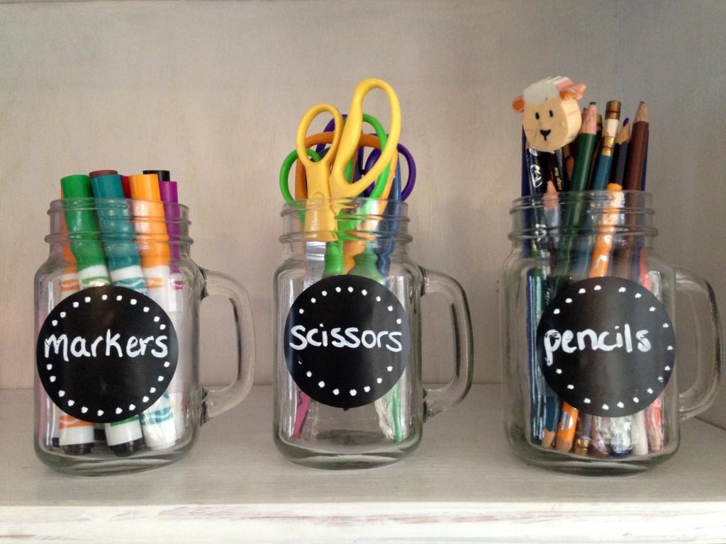 chalkboard stickers on mason jars