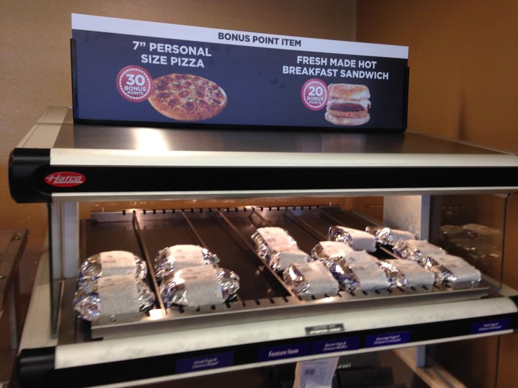 turkey hill bonus point pizza and breakfast sandwich