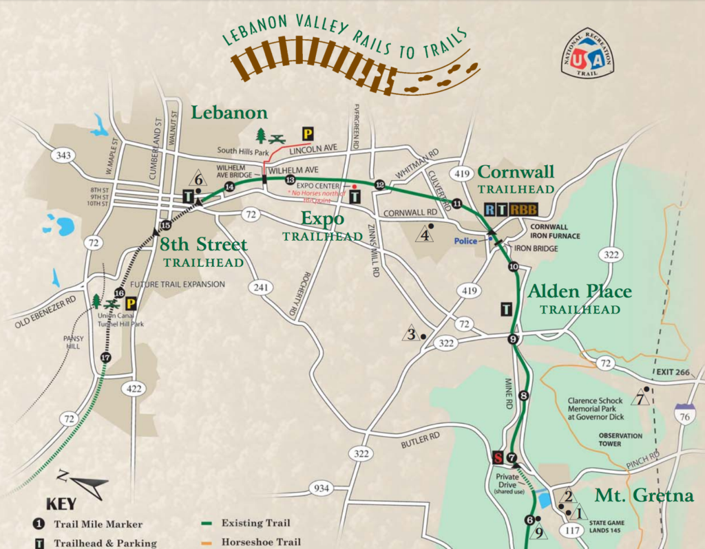 lebanon valley rails to trails printable map with kids