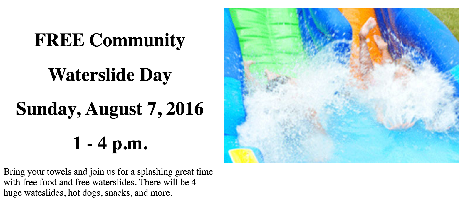FREE Community Waterslide Day in Leola on August 7, 2016