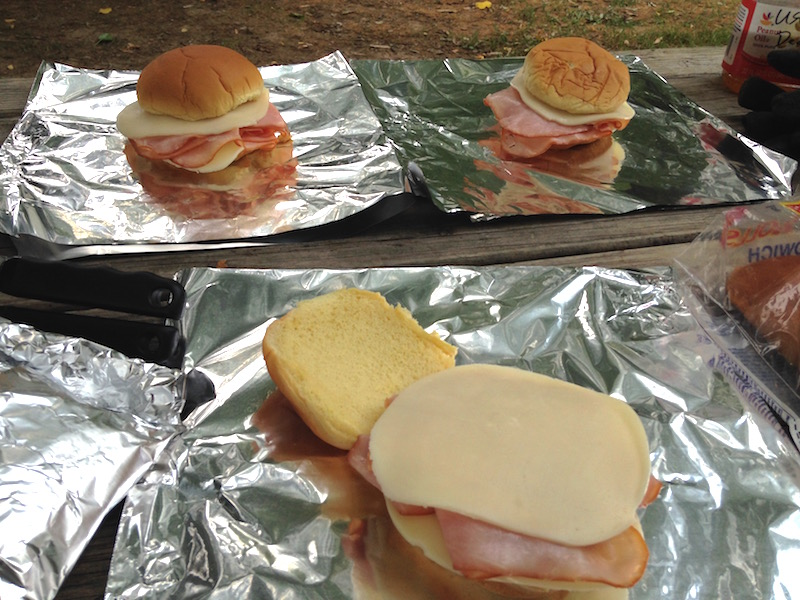 ham and cheese campfire sliders