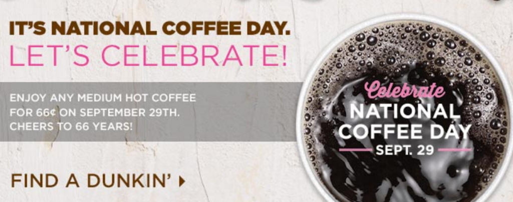 free dunkin donuts coffee national coffee day