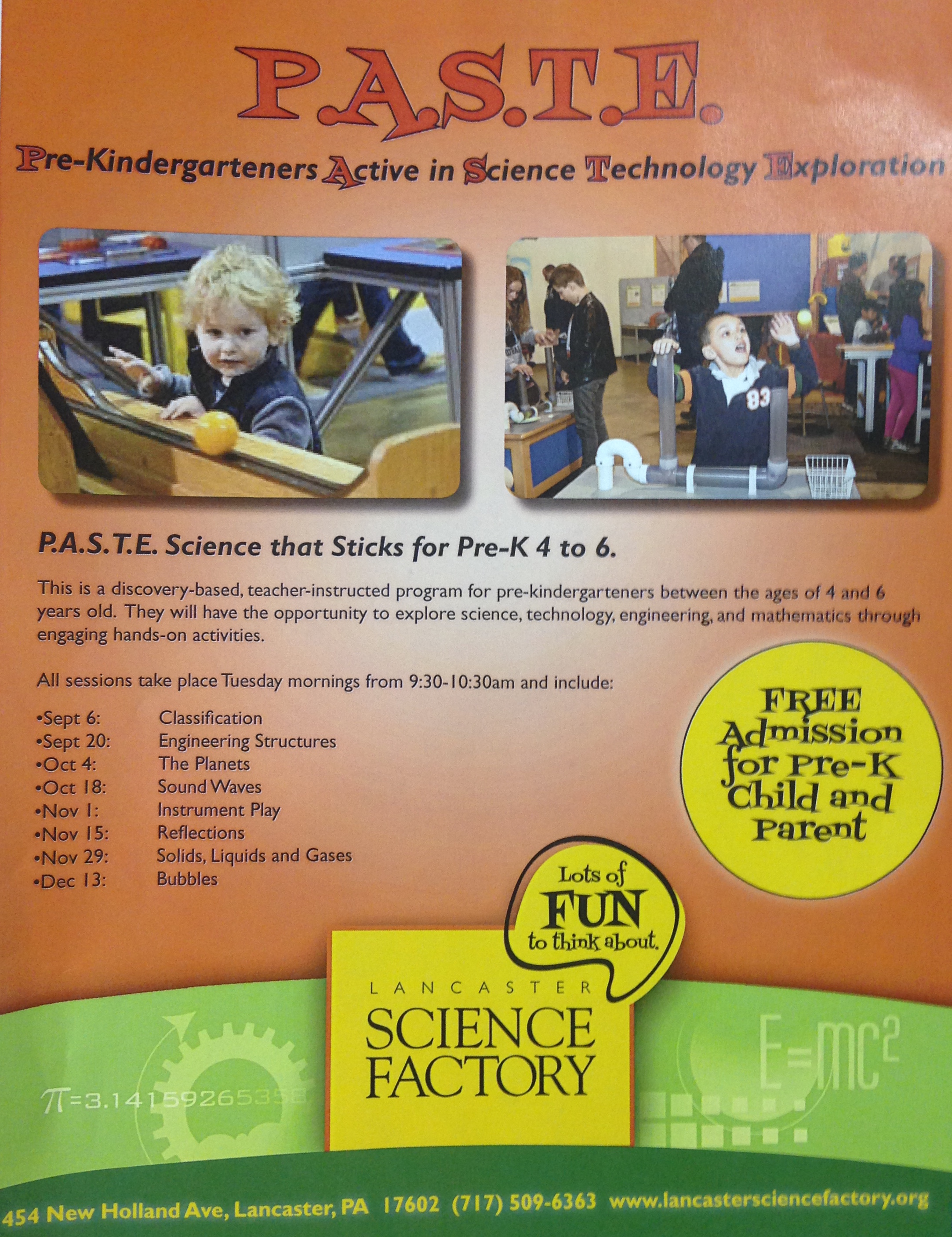 FREE Science Sessions for Pre-Kindergarteners at the Lancaster Science Factory – P.A.S.T.E.