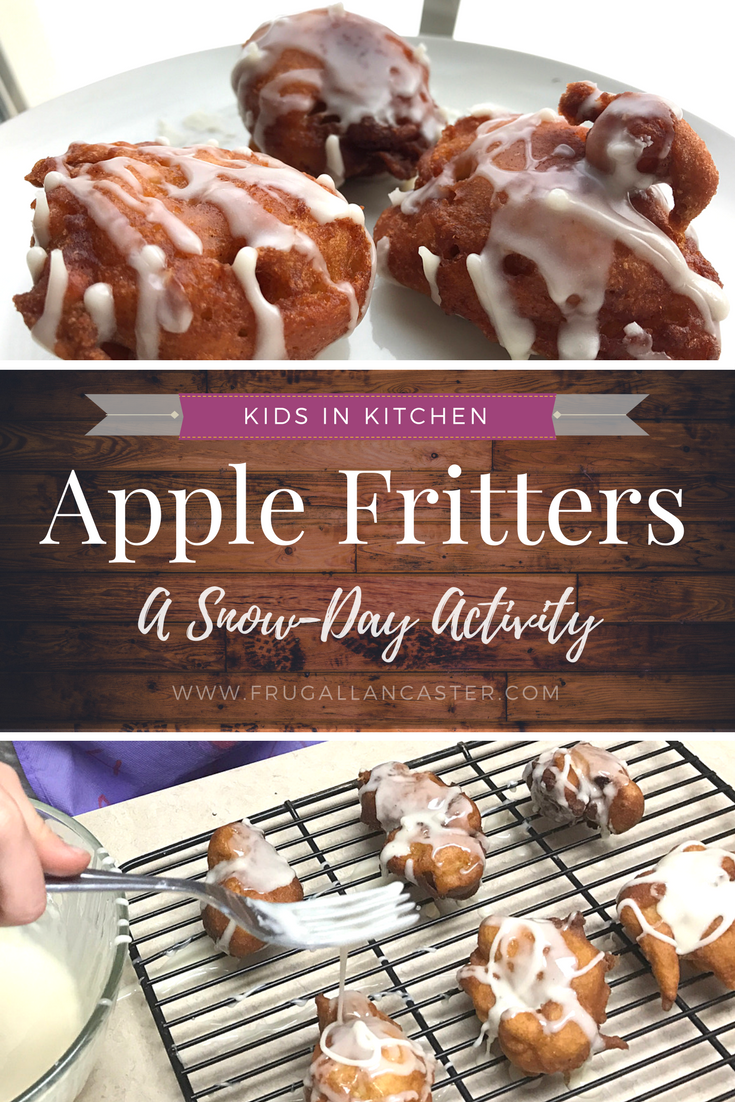Our Favorite Snow Day Activity plus Recipe for Apple Fritters with Drizzled Glaze