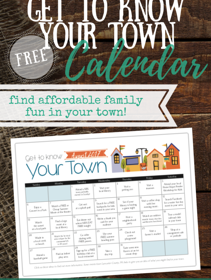 Get To Know Your Town Calendar {FREE Printable}