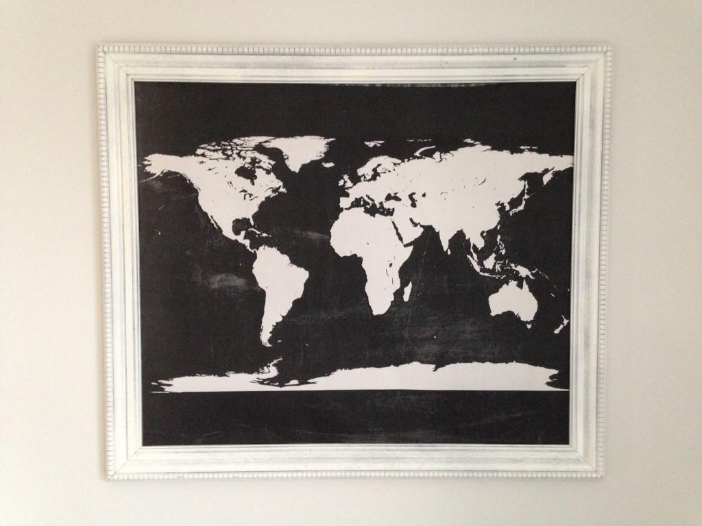 free chalkboard world map wall art