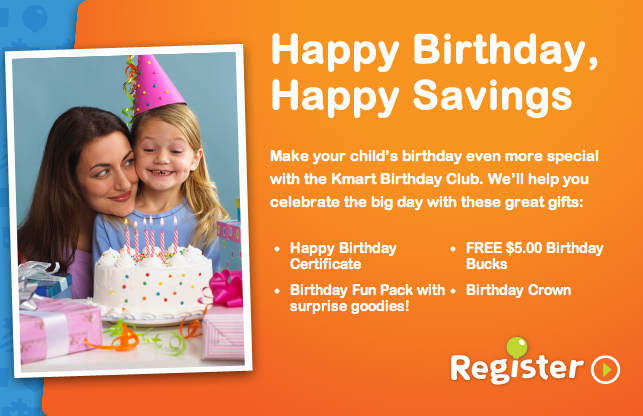 Free 5 kmart gift card for your child on their birthday frugal sign up your child for the kmart birthday club bookmarktalkfo Images
